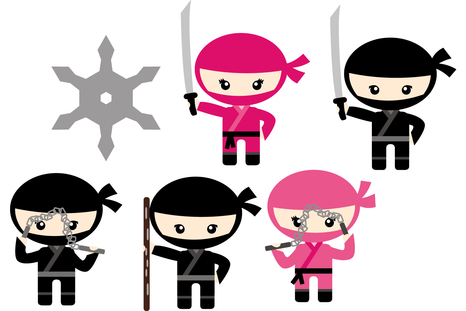 1500x1000 Cute Ninja Boys Girls, Black Pink, Grap Design Bundles