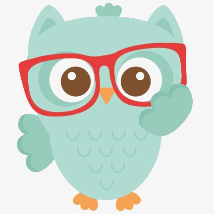 432x432 Owl, Hand Painted Owl, Cute Owl, Red Frame Glasses Png Image