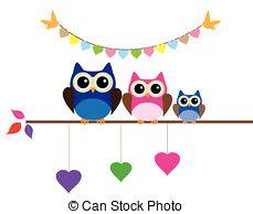 229x194 Owl Mom Owl Family Clipart Vector