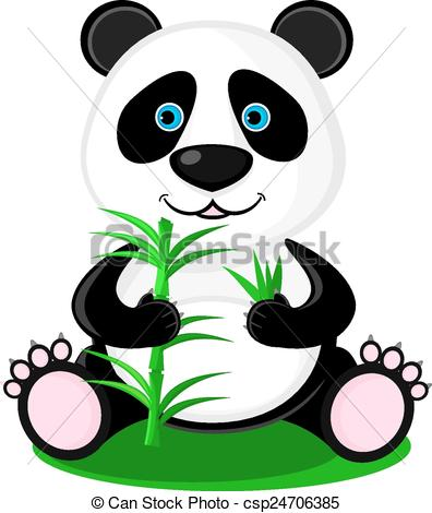 396x470 Cute Panda Bear With Bamboo In Its Paws Vector
