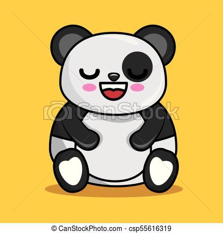 450x470 Cute Panda Character Kawaii Style Vector Illustration Design