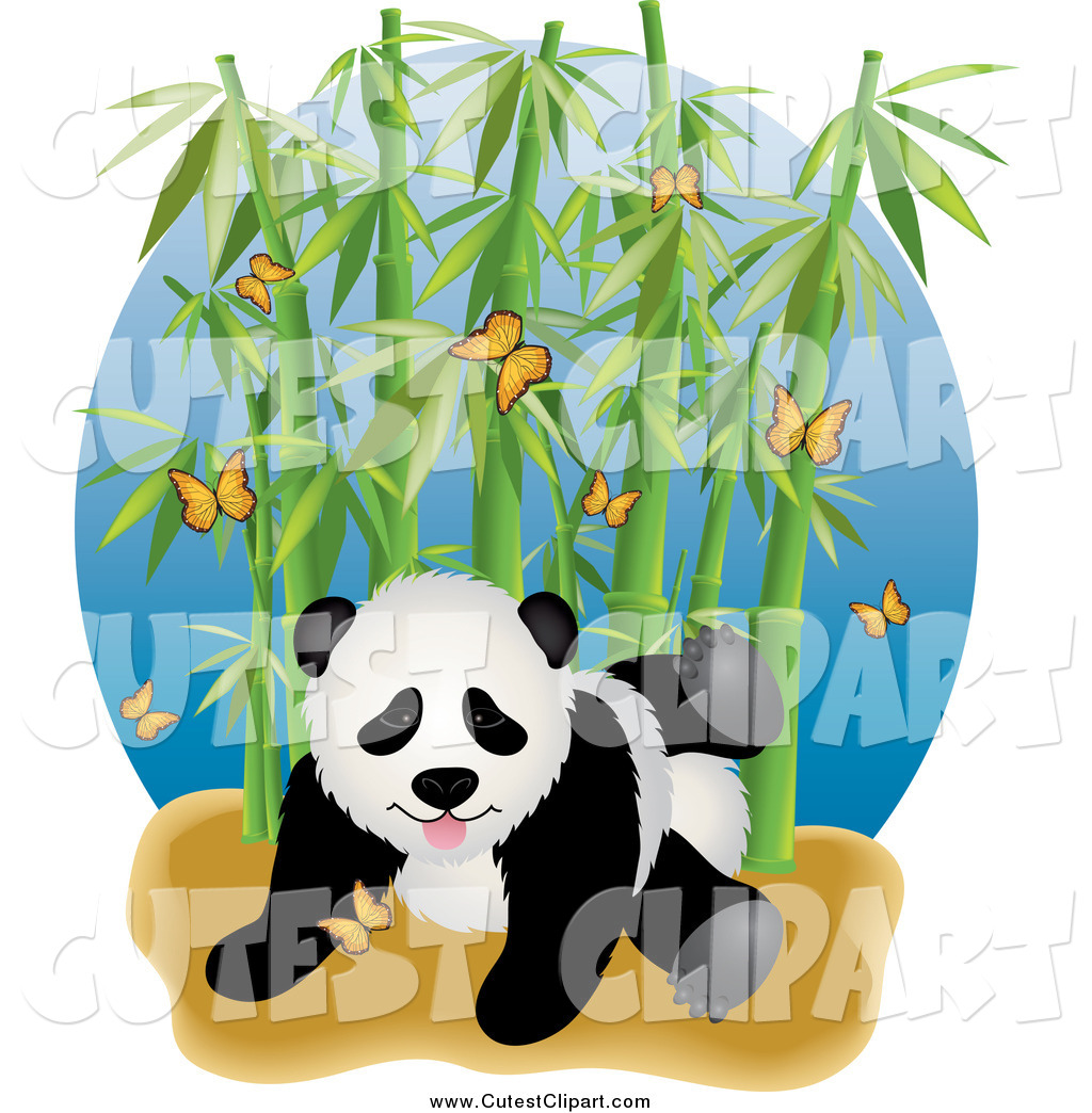 1024x1044 Vector Clip Art Of A Cute Panda With Butterflies And Bamboo By