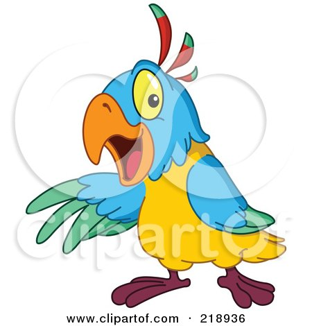 450x470 Royalty Free (Rf) Clipart Illustration Of A Cute Parrot