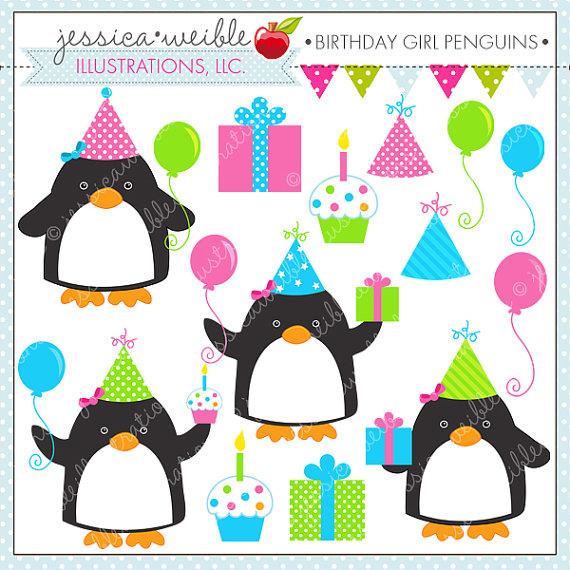 570x570 Birthday Girl Penguins Cute Digital Clipart For Commercial