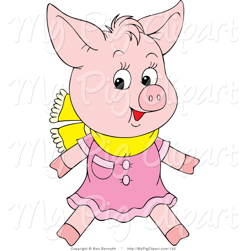 1024x1044 Swine Clipart Of A Cute Pink Pig Wearing A Pink Dress And Yellow