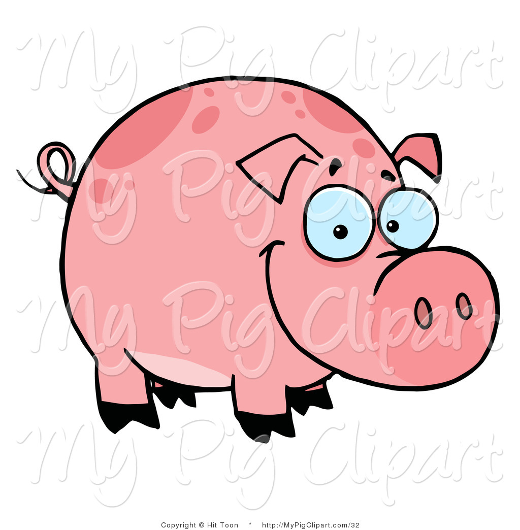 1024x1044 Swine Clipart Of A Happy Smiling Chubby Pink Pig With Spots By Hit