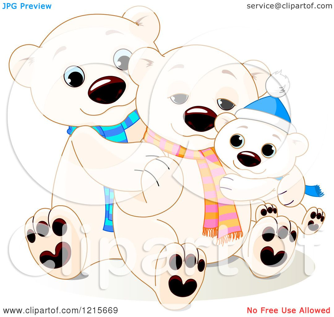 1080x1024 Clipart Of A Cute Hugging Polar Bear Family Wearing Scarves