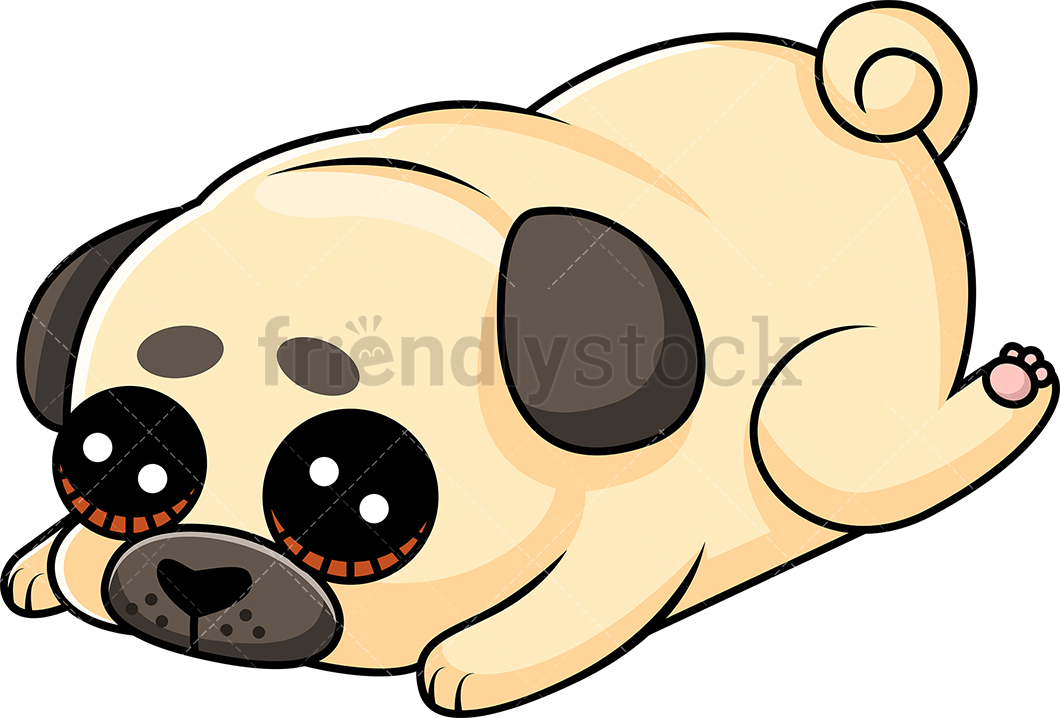 1060x718 Cute Pug Puppy Laying Down Feeling Guilty Cartoon Vector Clipart