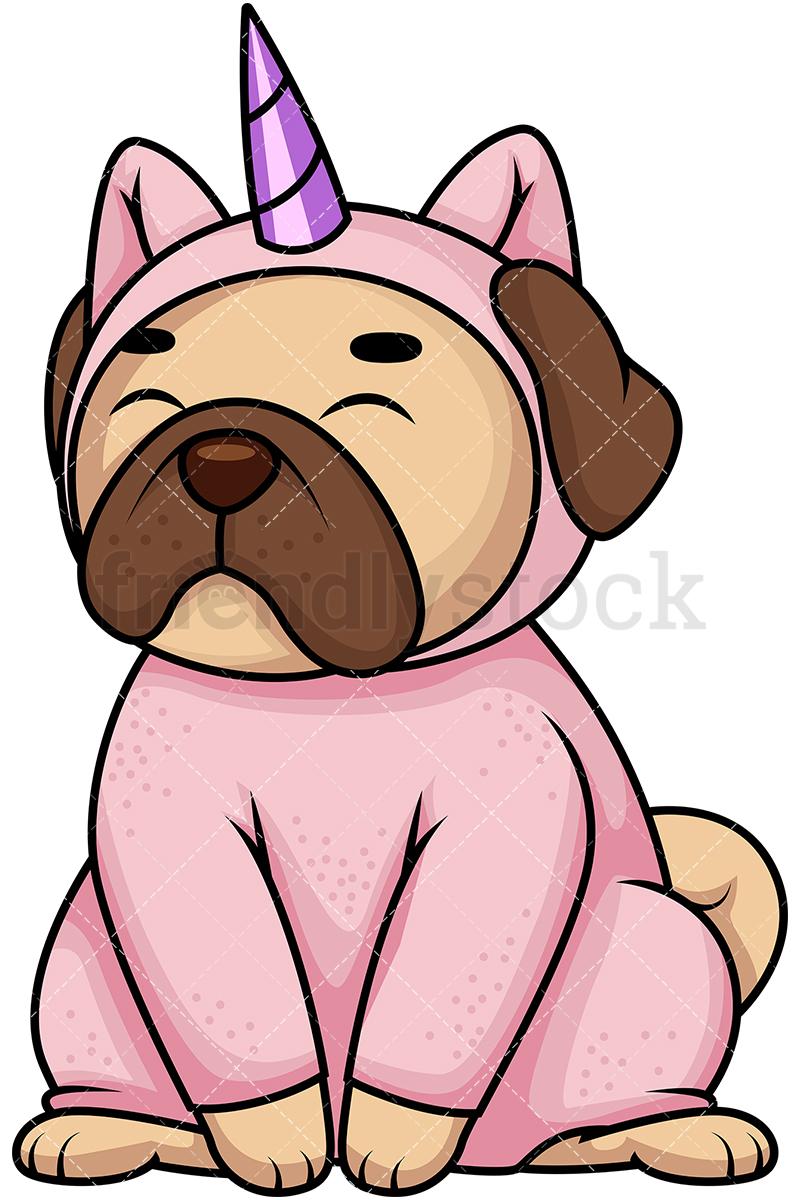 800x1200 Pug Dog In Unicorn Costume Cartoon Vector Clipart