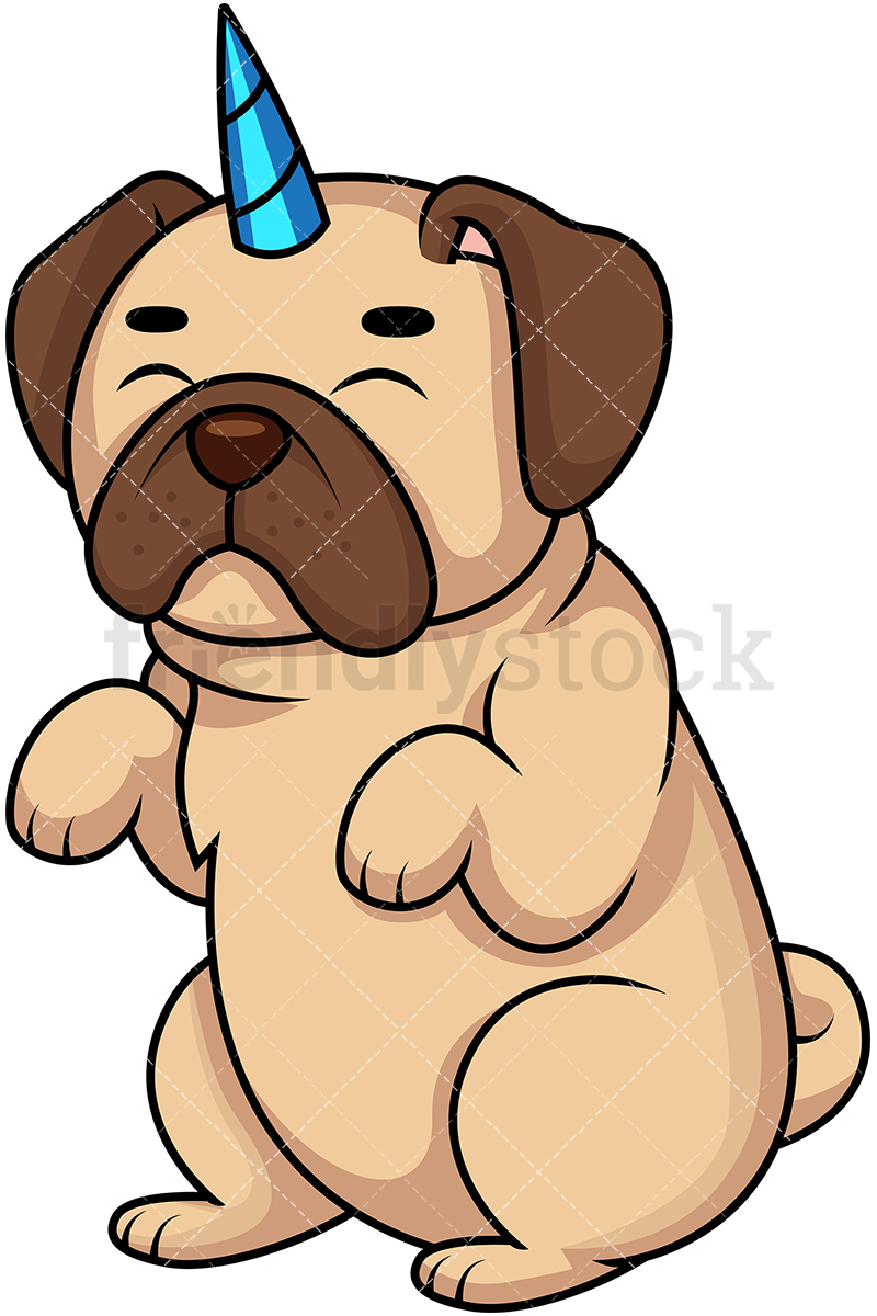 800x1200 Pug Dog Unicorn Pugicorn Cartoon Vector Clipart