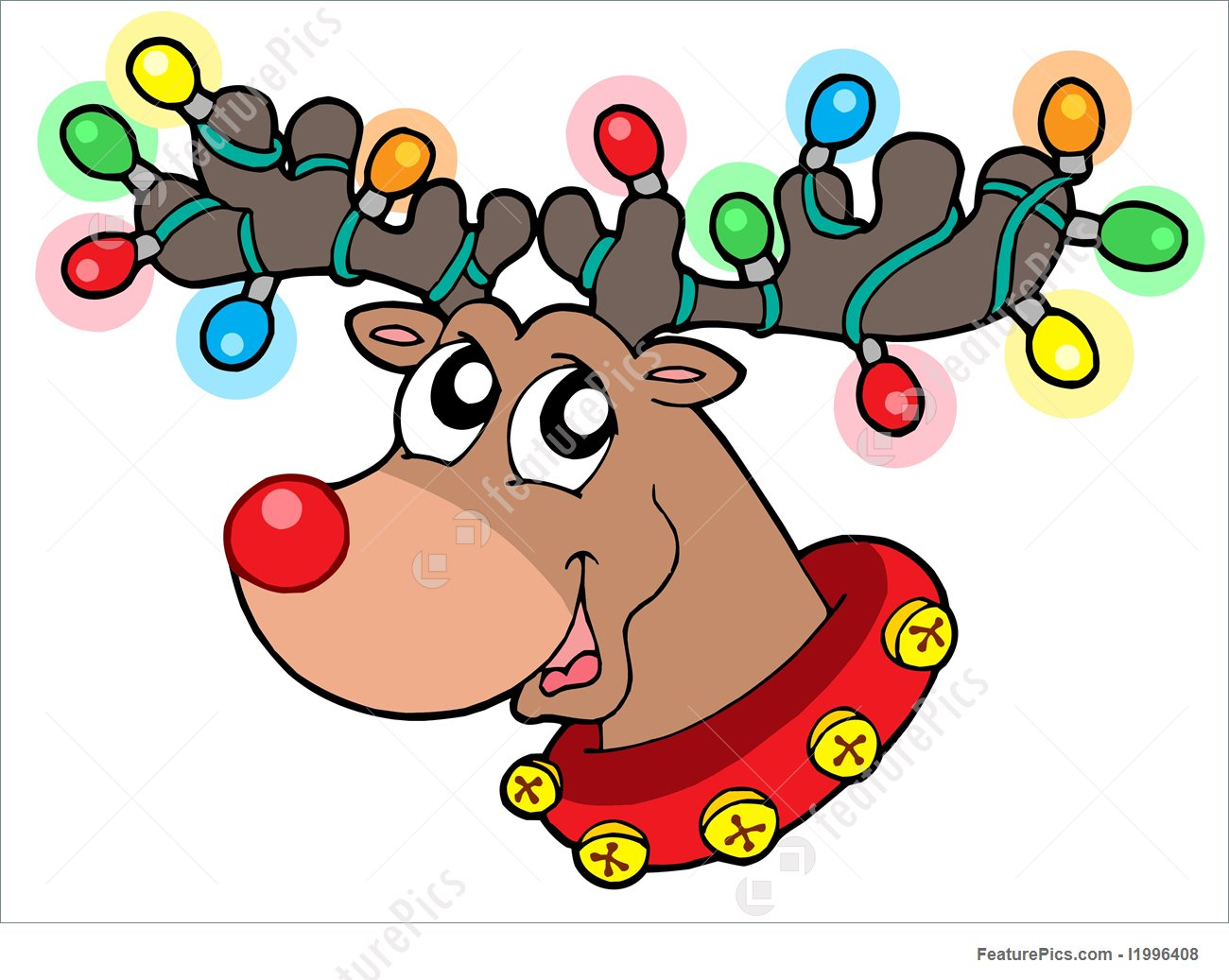 1300x1037 Cute Reindeer In Christmas Lights Illustration