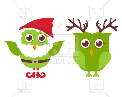 400x320 Two Cute Christmas Owls Dressed As Santa And Reindeer Royalty Free