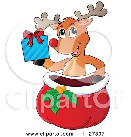450x470 Cartoon Of A Cute Red Nosed Reindeer