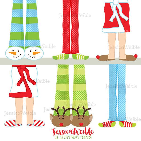 600x600 Christmas Pajama Feet Cute Digital Clipart Christmas Clip