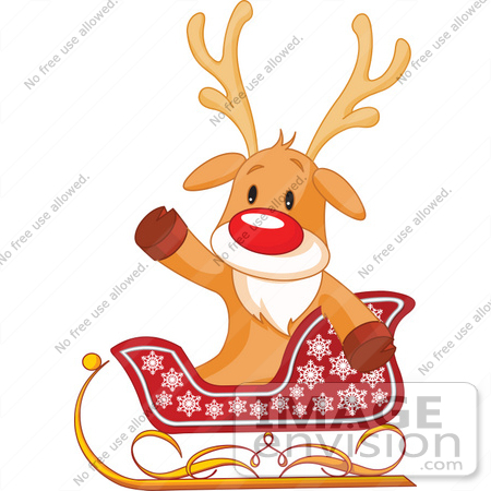 450x450 Clip Art Illustration Of A Cute Rudolph Sitting In A Sleigh