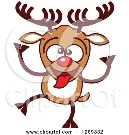 450x470 Clipart Of A Goofy Christmas Rudolph Reindeer Making A Funny Face