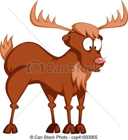 431x470 Funny Reindeer. A Cute Reindeer (Rudolph) Is Standing