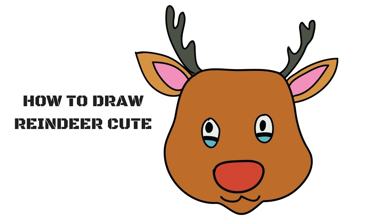 1280x720 How To Draw Reindeer Cute Step By Step Draw Cartoon Rudolph