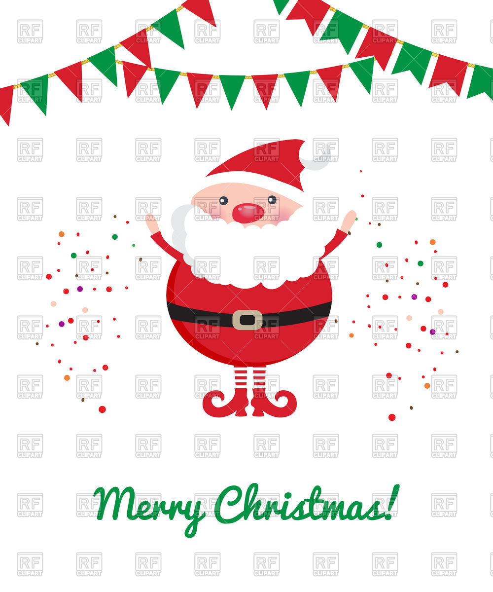 1000x1200 Cute Santa Claus, Party Bunting And Confetti