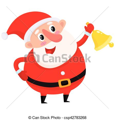 450x470 Cute And Funny Santa Claus Ringing Golden Christmas Bell, Clip