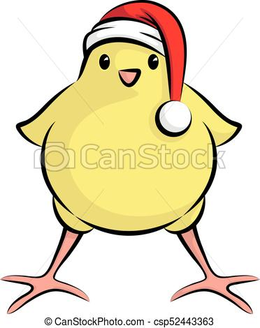 372x470 Cute Little Chick With Santa Claus Hat For Christmas Party