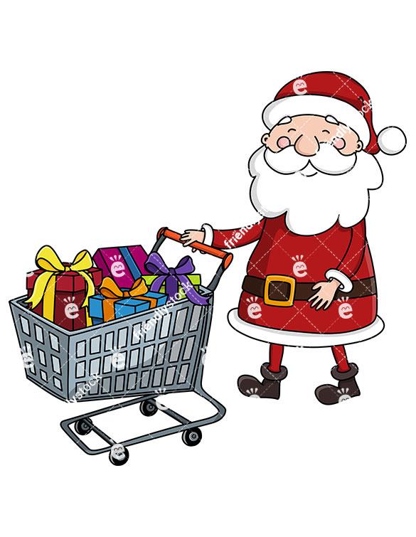 585x755 Santa Claus Pushing A Shopping Cart Full Of Presents Clipart