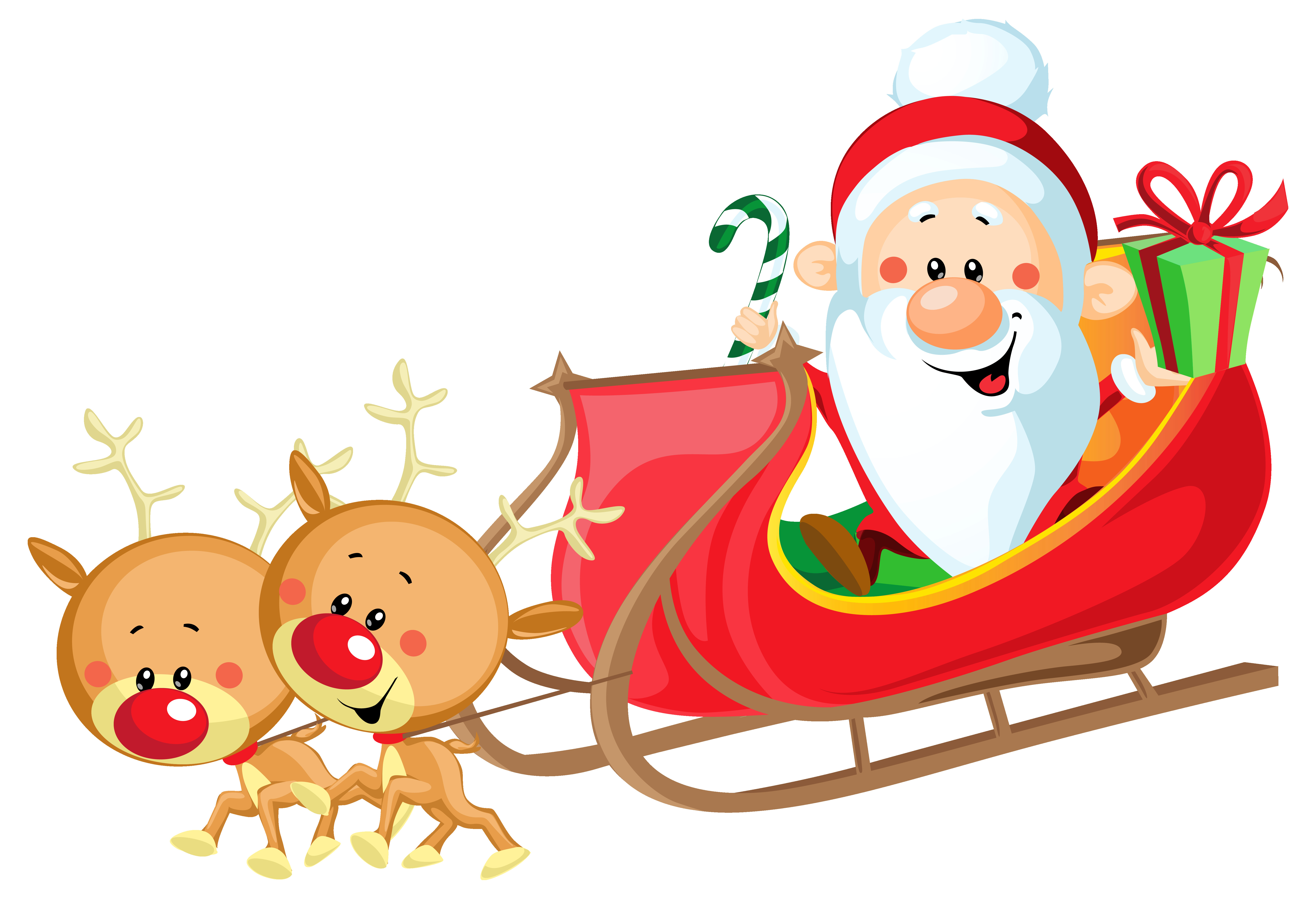 6412x4378 Christmas Silhouette Santa Claus With Sleigh Png Clip Art Gallery