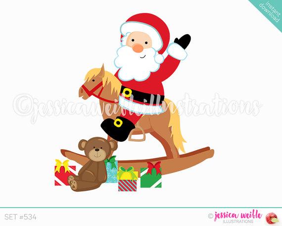 570x456 Instant Download Santa Rocking Horse Clip Art, Cute Digital