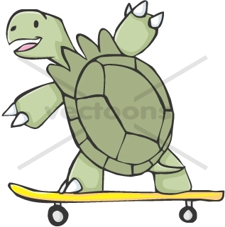 317x320 Cute Tortoise Cartoon Skating