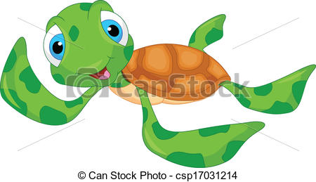 450x259 Cute Sea Turtle Cartoon Illustration Vector Clip Art
