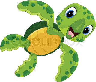 320x275 Swimming Sea Turtle Cartoon Character On Blue Background With Text