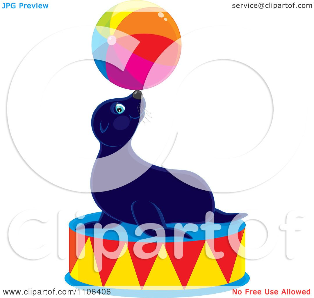 1080x1024 Clipart Cute Circus Sea Lion Balancing Ball On His Nose On