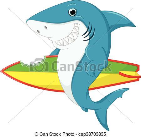450x439 Illustration Of Cute Shark Surfing Cartoon Vectors
