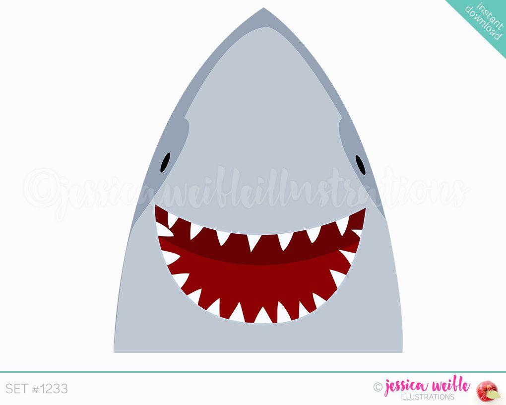 1020x816 Instant Download Happy Shark Cute Digital Clipart, Smiling Shark