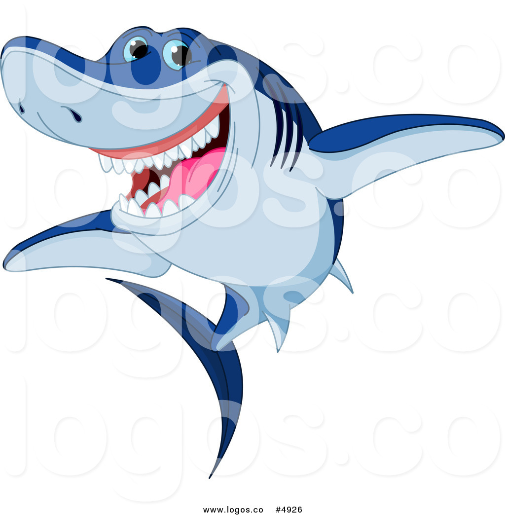 1024x1044 Royalty Free Vector Of A Smiling Blue Shark Logo By Pushkin