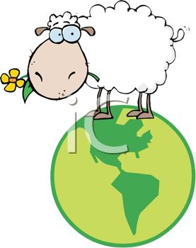 277x350 Cute Cartoon Sheep Standing On Top Of The World