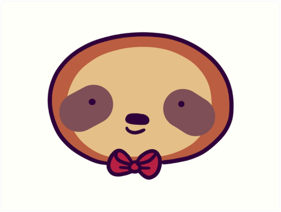 549x413 Cute Bowtie Sloth Face Art Prints By Saradaboru Redbubble