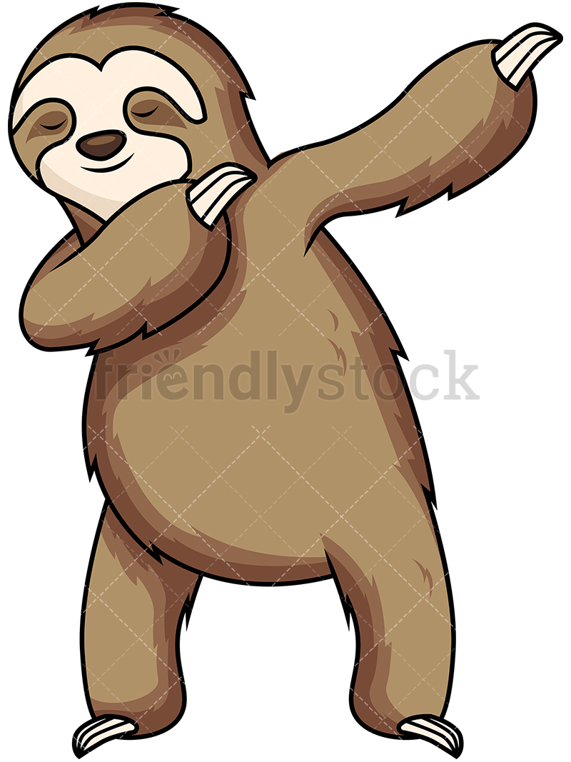 800x1067 Dabbing Sloth Cartoon Vector Clipart