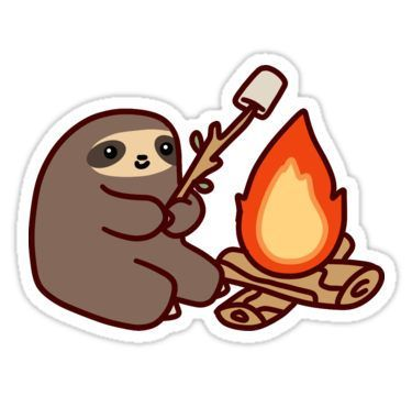 375x360 Campfire Sloth Stickers Art Stuff Sloth, Awesome
