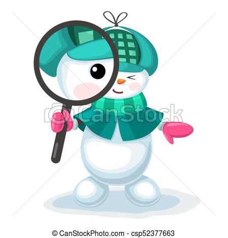 450x470 Vector Illustration Of Cute Snowman Looking Through A Clip Art