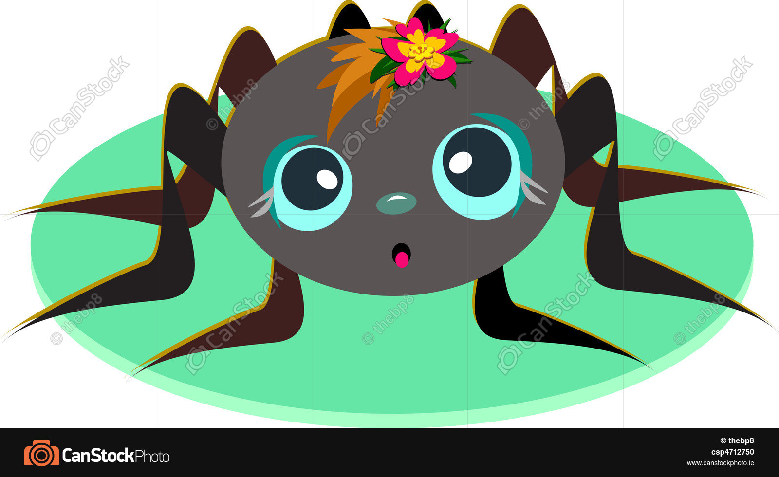 1600x980 This Cute Spider Baby Has A Colorful Flower On Her Head. Vector