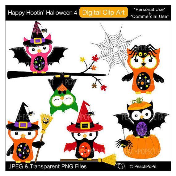 570x570 Cute Halloween Owls Clipart Digital Clip Art By Peachpopsclipart