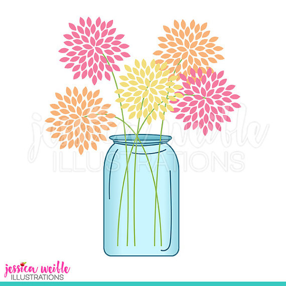 570x570 Mason Jar Of Flowers Cute Digital Clipart, Cute Flowers Clip Art