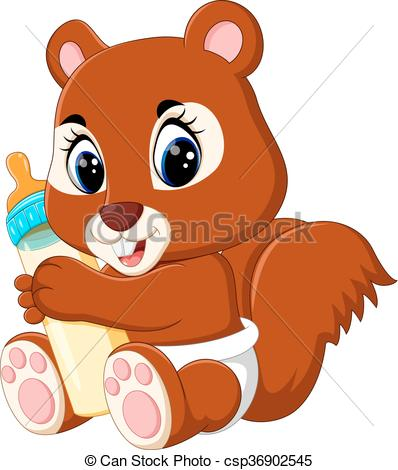 398x470 Illustration Of Cute Squirrel Cartoon Eps Vector