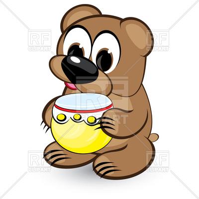 400x400 Cartoon Cute Bear With Honey Pot Royalty Free Vector Clip Art