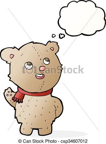 348x470 Cartoon Cute Teddy Bear With Scarf With Thought Bubble Vector Clip