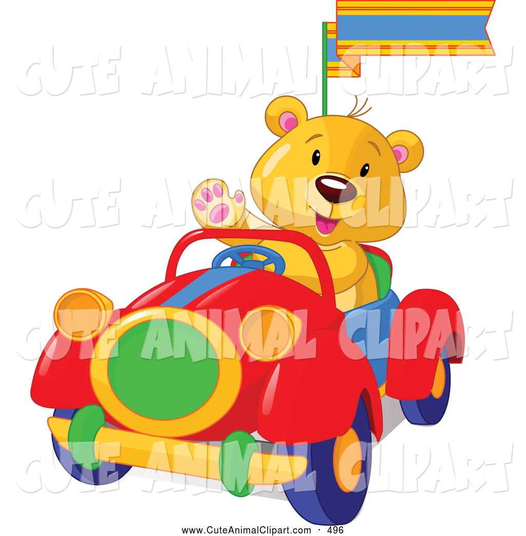 1024x1044 Vector Cliprt Of Cute Teddy Bear Wavingnd Driving