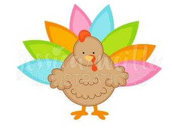 340x270 Pilgrim Turkeys Cute Thanksgiving Digital Clipart For Commercial