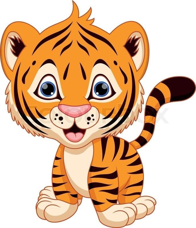 688x800 Cute Tiger Clip Art