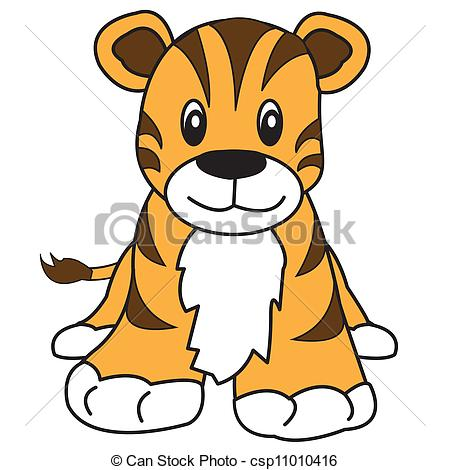 450x470 Tiger Cute Animal. Cute Tiger With Brown Stripes And Orange